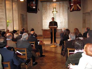 Service at St Columba's Church, London